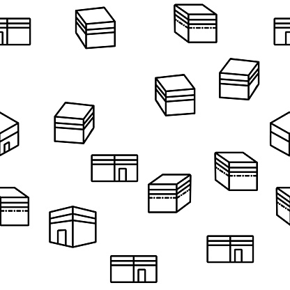 Makkah Islamic Religious Building Vector Seamless Pattern