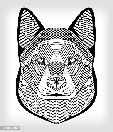 istock Malamute hound head, black and white drawing on gray background 623271462