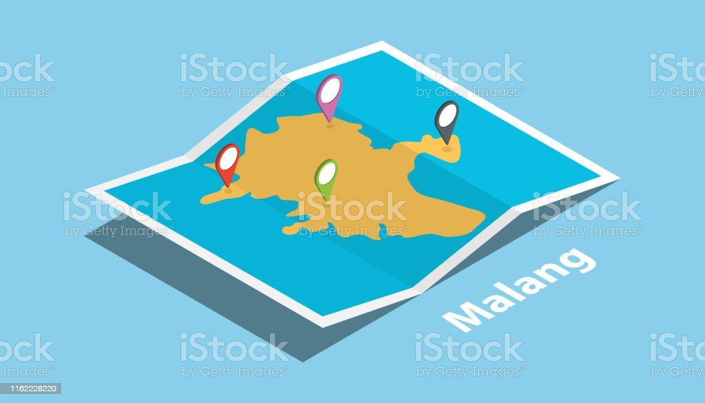 malang indonesia java explore maps with isometric style and pin...