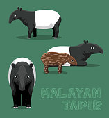 Malayan Tapir Cute Cartoon Vector Illustration