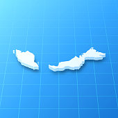 3D map of Malaysia isolated on a blank blueprint, with a dropshadow (color used: blue and white). Vector Illustration (EPS10, well layered and grouped). Easy to edit, manipulate, resize or colorize.