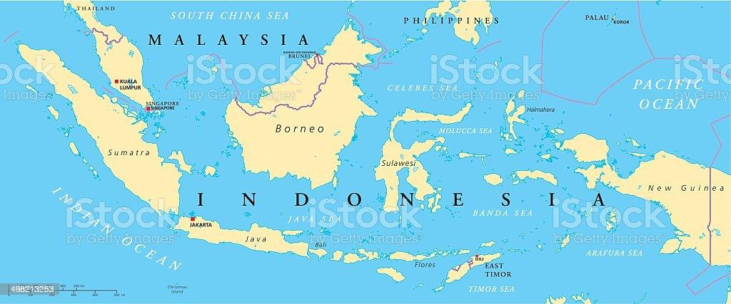 Indonesien Karte Physisch.Indonesien Malaysia Und Politische Karte Stock Vektor Art