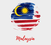 Malaysia background with flag in round grunge shape
