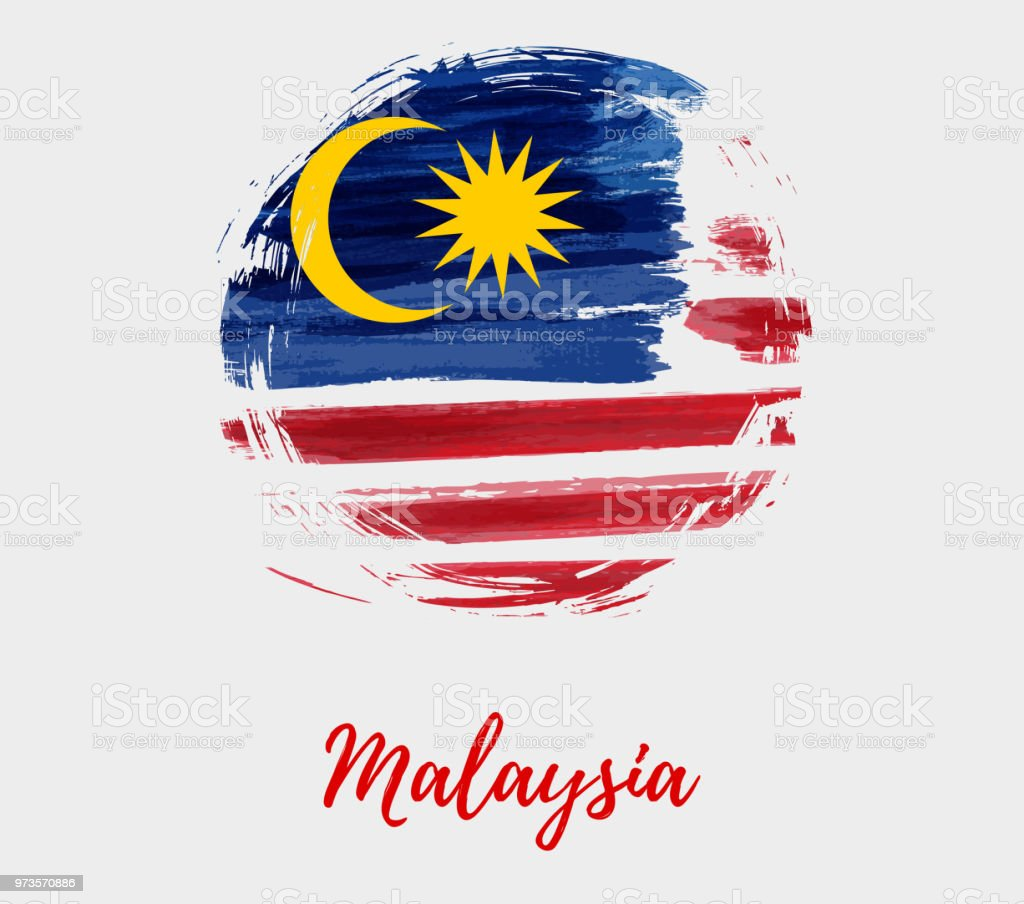 Malaysia background with flag in round grunge shape vector art illustration