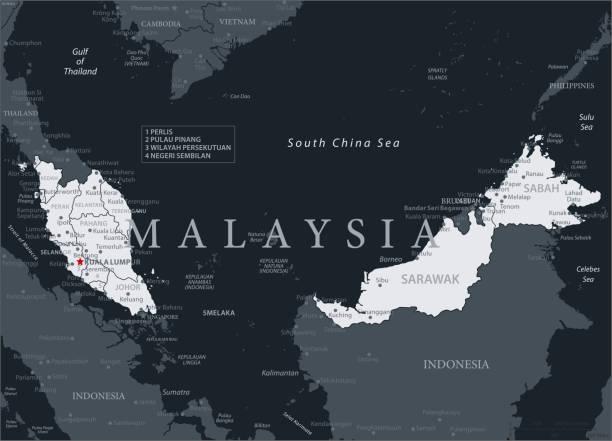 19 - malaysia - schwarz grau 10 - kuching stock-grafiken, -clipart, -cartoons und -symbole