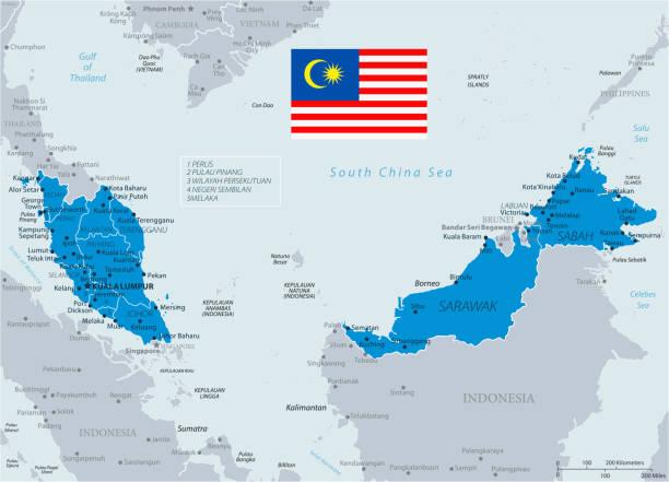 33 - malaysia - blaugrau 10 - kuching stock-grafiken, -clipart, -cartoons und -symbole
