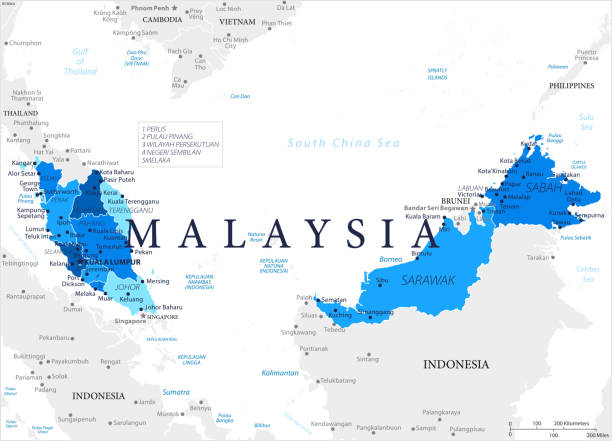 03 - malaysia - blauen fleck 10 - kuching stock-grafiken, -clipart, -cartoons und -symbole