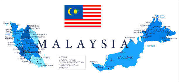 04 - malaysia - blau vor ort isoliert 10 - kuching stock-grafiken, -clipart, -cartoons und -symbole