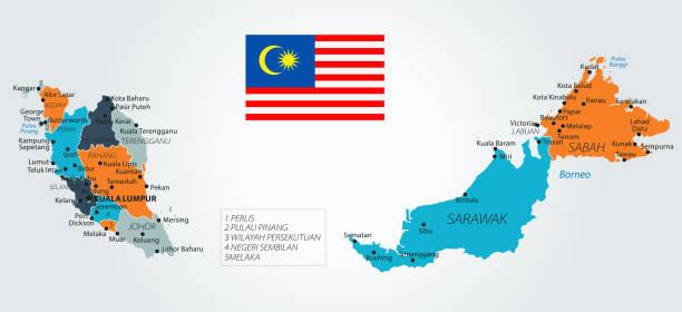 13 - malaysia - blau-orange 10 - kuching stock-grafiken, -clipart, -cartoons und -symbole