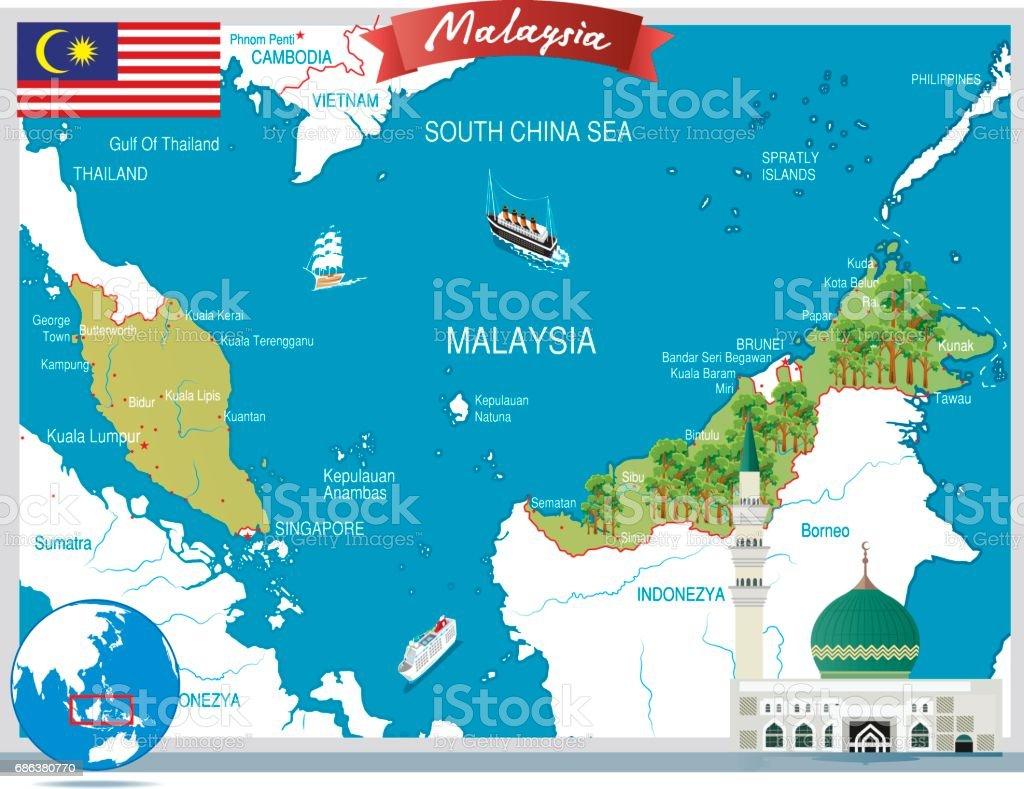 Malaysia cartoon map vector art illustration