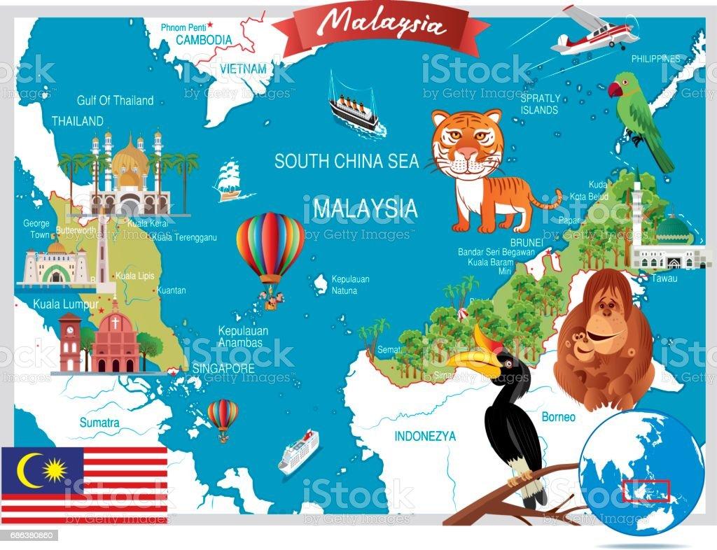 Malaysia Cartoon Map Stock Illustration - Download Image Now - Istock-4209
