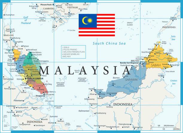 27 - malaysia - color1 10 - kuching stock-grafiken, -clipart, -cartoons und -symbole