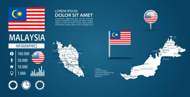 39 - malaysia - dunkle murena bg infographic q10 - kuching stock-grafiken, -clipart, -cartoons und -symbole