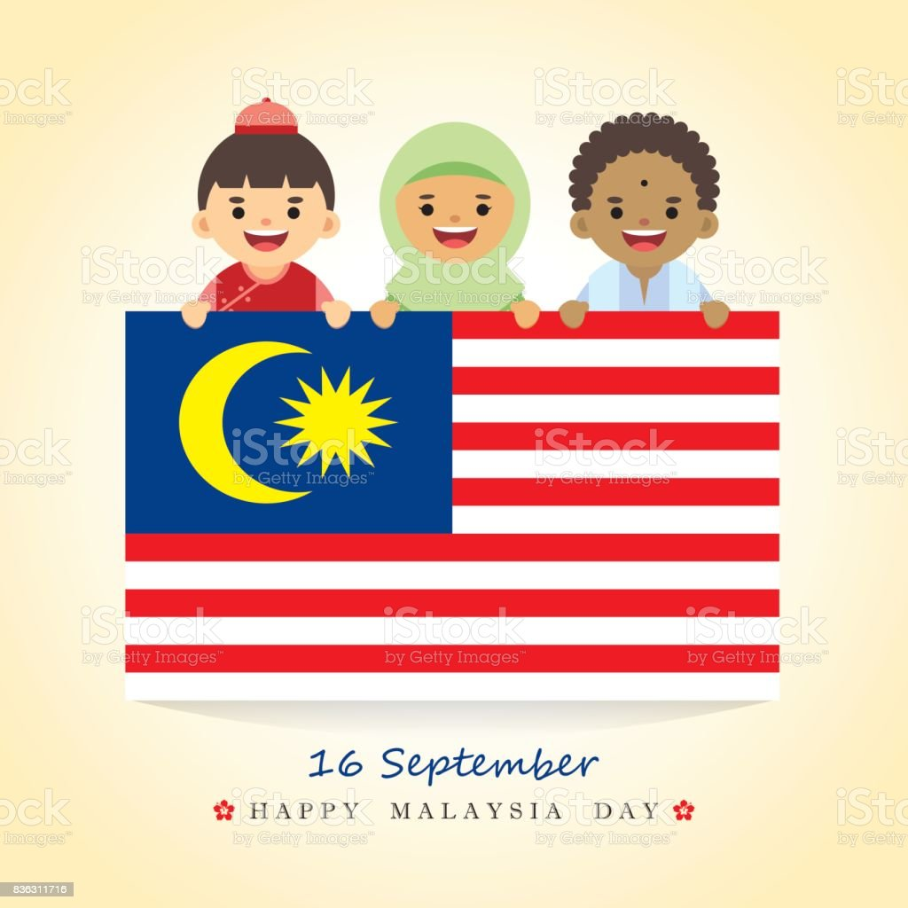 Malaysia day 1 vector art illustration