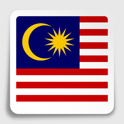 malaysia flag icon on paper square sticker with shadow. Button for mobile application or web. Vector