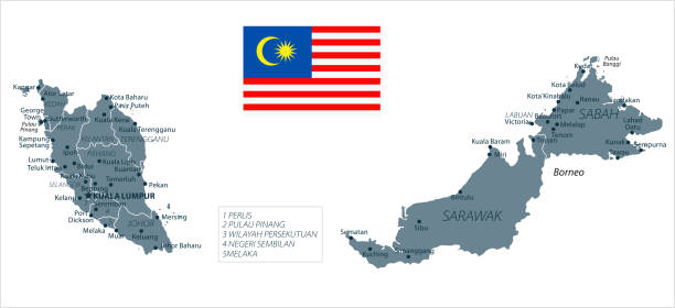 30 - malaysia - graustufen isoliert 10 - kuching stock-grafiken, -clipart, -cartoons und -symbole