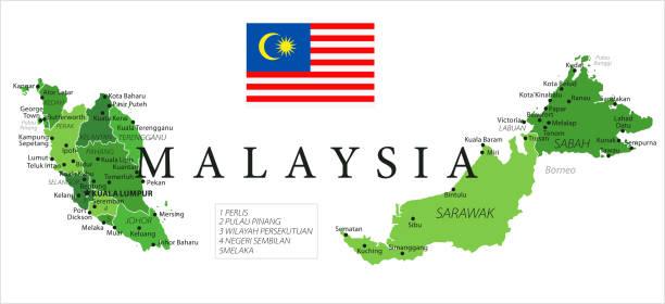 15 - malaysia - grün isoliert 10 - kuching stock-grafiken, -clipart, -cartoons und -symbole