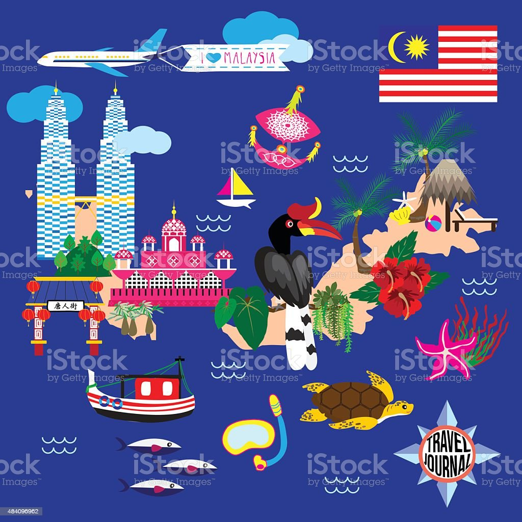 Malaysia Guide Map vector art illustration