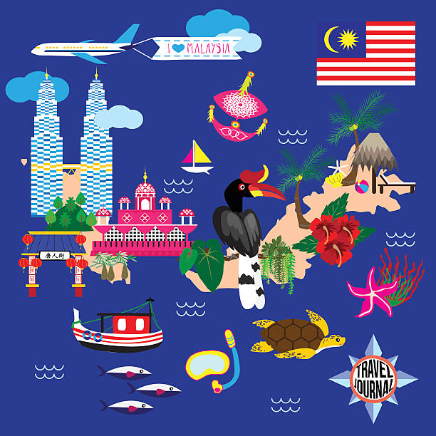 stockillustraties, clipart, cartoons en iconen met malaysia guide map - maleisië
