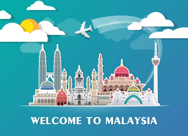 Malaysia Landmark Global Travel And Journey paper background. Vector Design Template.used for your advertisement, book, banner, template, travel business or presentation. vector art illustration