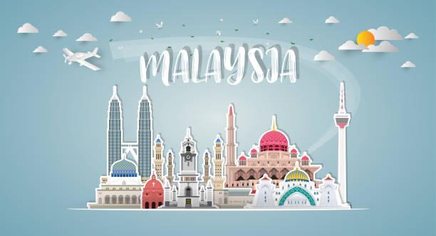 stockillustraties, clipart, cartoons en iconen met maleisië landmark wereldwijde reizen en reis papier achtergrond. vector design template.used voor uw advertentie, boek, spandoek, sjabloon, zakelijke reizen of presentatie. - maleisië