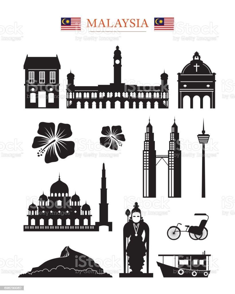 Malaysia Landmarks Architecture Building Object Set vector art illustration