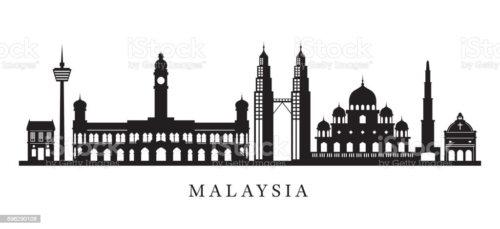 Malaysia Landmarks Skyline in Black and White Silhouette vector art illustration