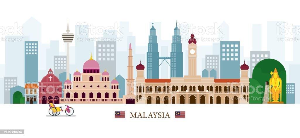 Malaysia Landmarks Skyline vector art illustration