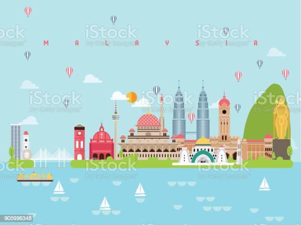 Maleisië Bezienswaardigheden Reizen En Reis Vector Stockvectorkunst en meer beelden van Aankomst