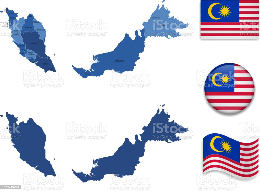 Malaysia Map and Flag Collection vector art illustration