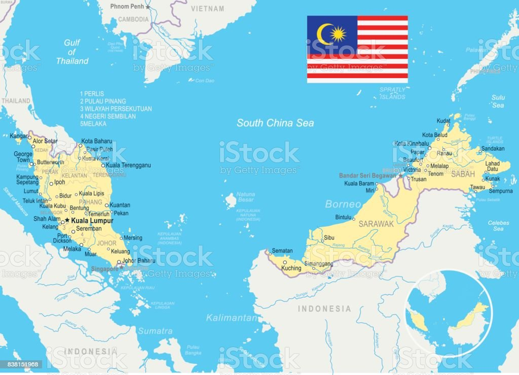Malaysia Map And Flag Illustration stock vector art 838151968 iStock
