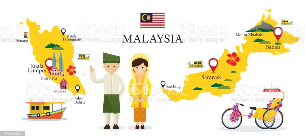 Malaysia Map and Landmarks with People in Traditional Clothing vector art illustration