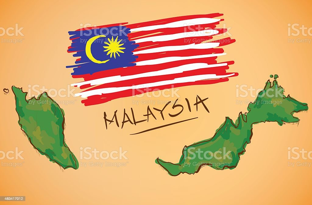 Malaysia Karte Und Die Nationalflagge Vektor Stock Vektor Art und ...