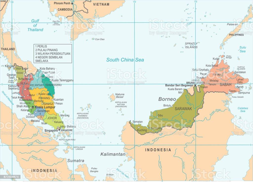 Malaysia Map Detailed Vector Illustration Stock Illustration ... on mexico city world map, macau world map, dili world map, asia world map, damascus on world map, malaysia world map, hanoi world map, wellington on world map, budapest world map, jakarta world map, taipei world map, kolkata world map, pyongyang world map, singapore world map, mindanao world map, manila world map, amsterdam world map, auckland world map, thailand world map, islamabad world map,