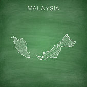 Map of Malaysia drawn in chalk on a green chalkboard with chalk traces. Vector Illustration (EPS10, well layered and grouped). Easy to edit, manipulate, resize or colorize. Please do not hesitate to contact me if you have any questions, or need to customise the illustration. http://www.istockphoto.com/portfolio/bgblue