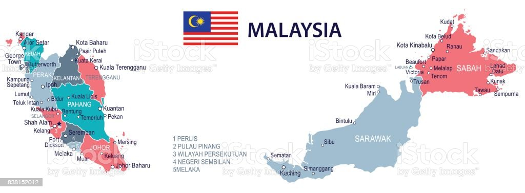 15 Malaysia Map Green Pink Gray 10 Stock Vector Art More Images of