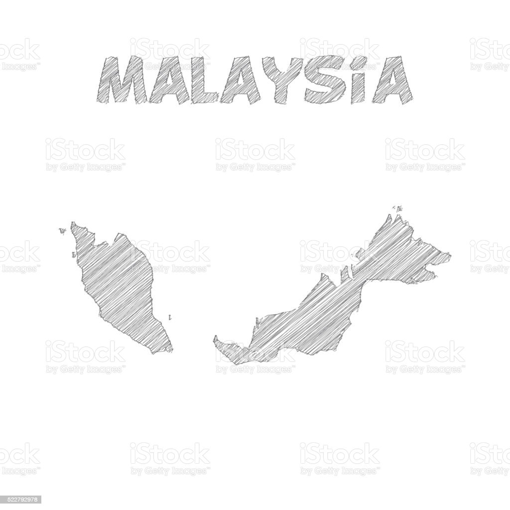 Malaysia Map Hand Drawn On White Background stock vector art