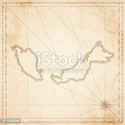 Map of Malaysia in vintage style. Beautiful illustration of antique map on an old textured paper of sepia color. Old realistic parchment with a compass rose, lines indicating the different directions (North, South, East, West) and a frame used as scale of measurement. Vector Illustration (EPS10, well layered and grouped). Easy to edit, manipulate, resize or colorize. Please do not hesitate to contact me if you have any questions, or need to customise the illustration. http://www.istockphoto.com/portfolio/bgblue