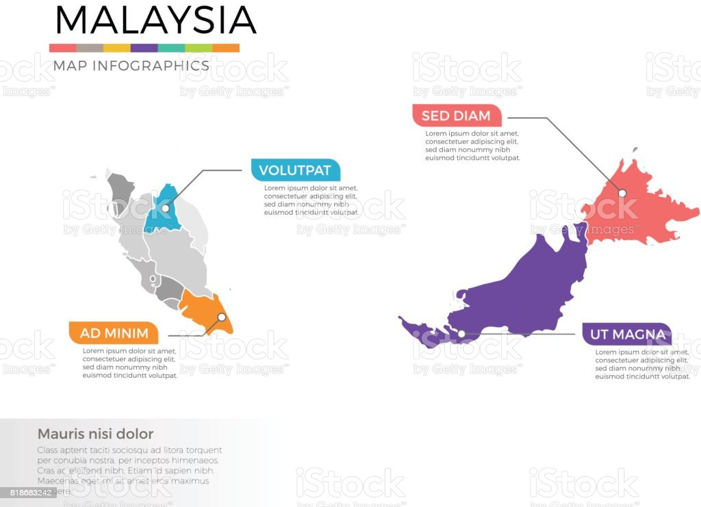 Malaysia map infographics vector template with regions and pointer marks vector art illustration