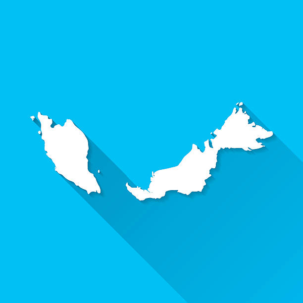 Malaysia Map on Blue Background, Long Shadow, Flat Design vector art illustration