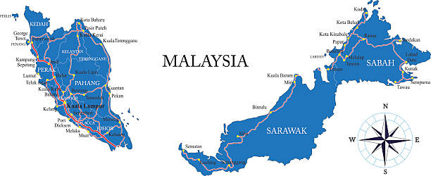 stockillustraties, clipart, cartoons en iconen met malaysia map - maleisië
