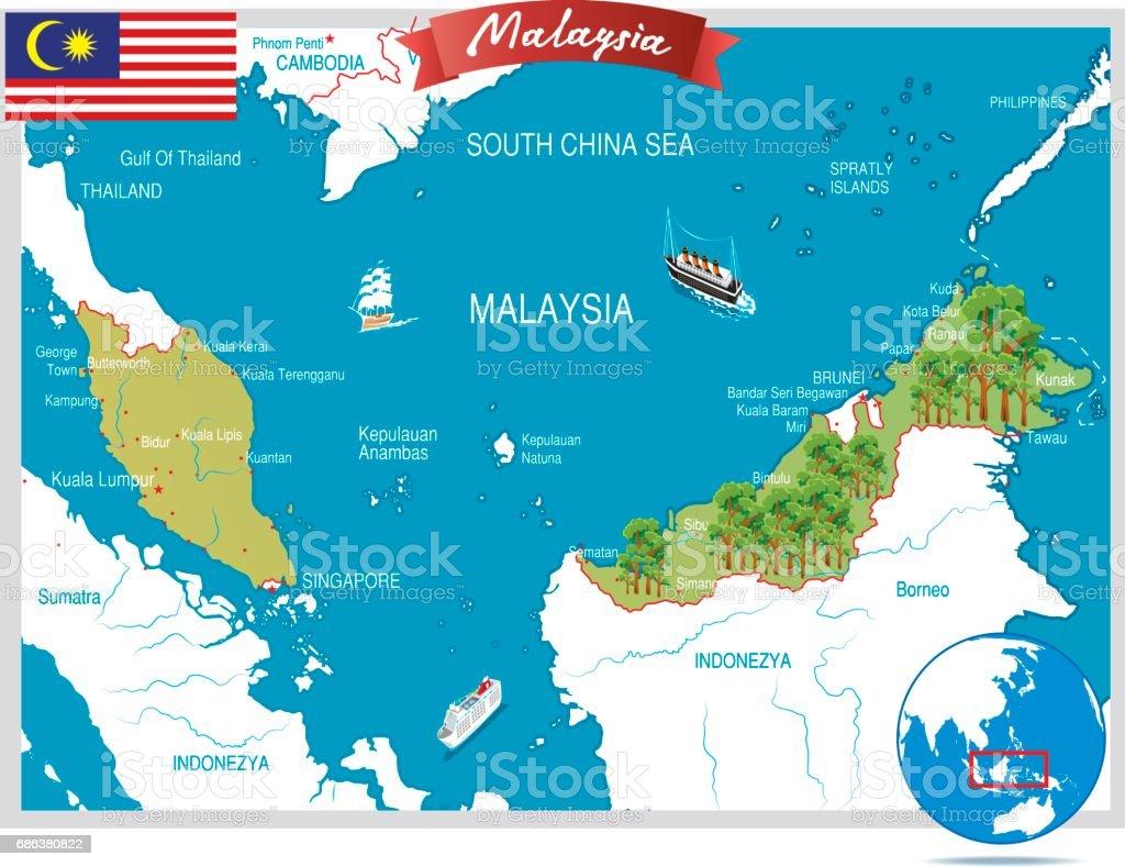 Malaysia Map Stock Vector Art IStock - Malaysia map