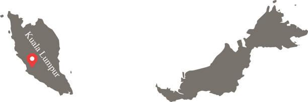 malaysia karte vektor umriss mit hauptstadt namen beschriftet kuala lumpur grauen hintergrund - kuching stock-grafiken, -clipart, -cartoons und -symbole