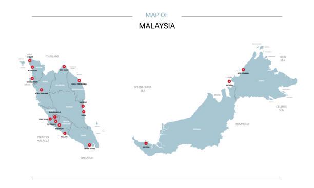 ilustrações, clipart, desenhos animados e ícones de vetor mapa de malásia com pino vermelho. - malásia