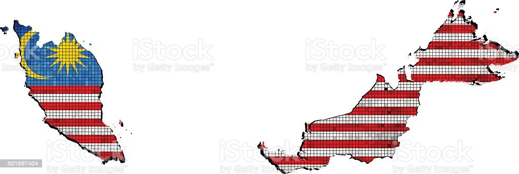 Malaysia map with flag inside vector art illustration