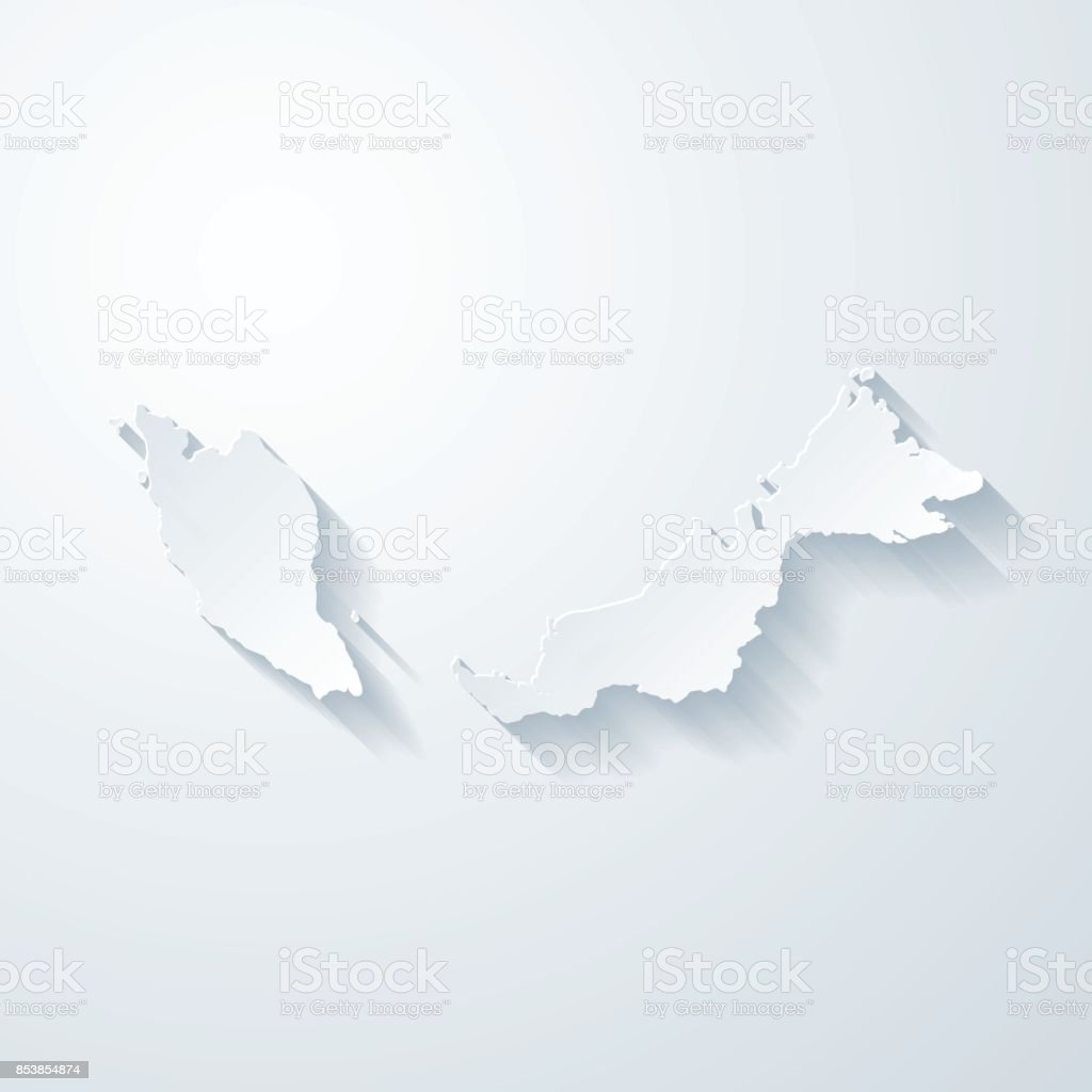 Malaysia map with paper cut effect on blank background vector art illustration