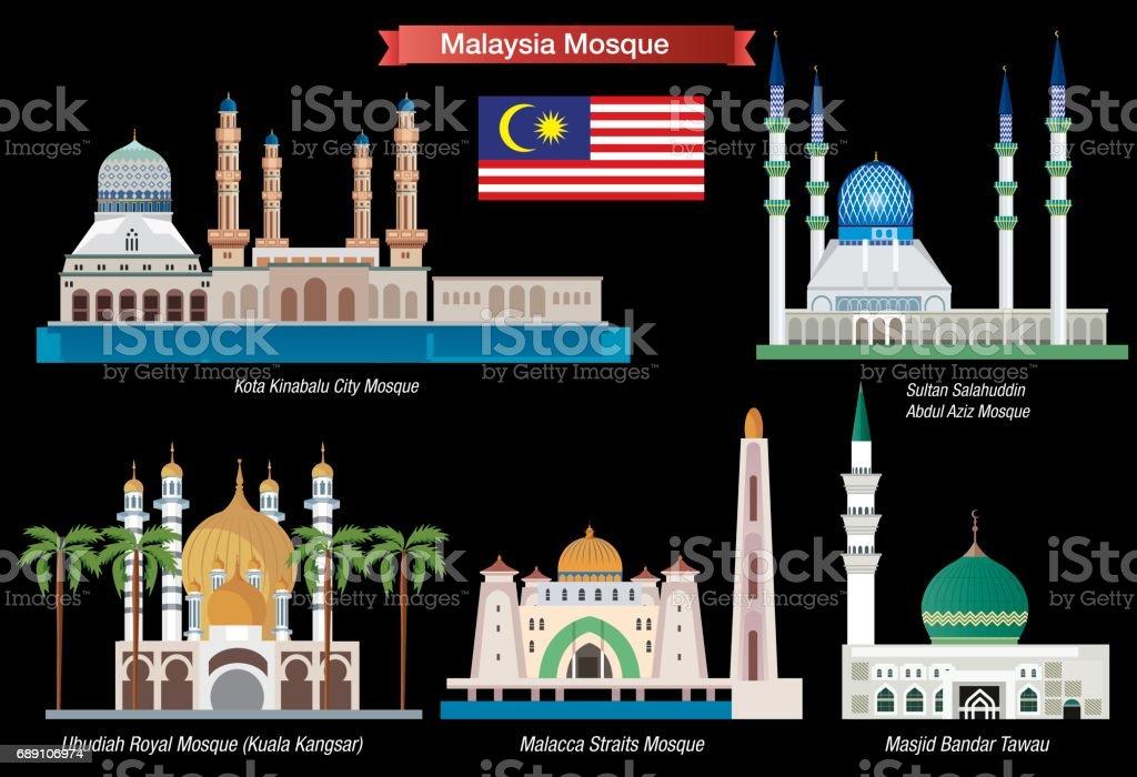 Malaysia Mosque vector art illustration