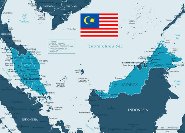 32 - malaysia - murena dunkel 10 - kuching stock-grafiken, -clipart, -cartoons und -symbole