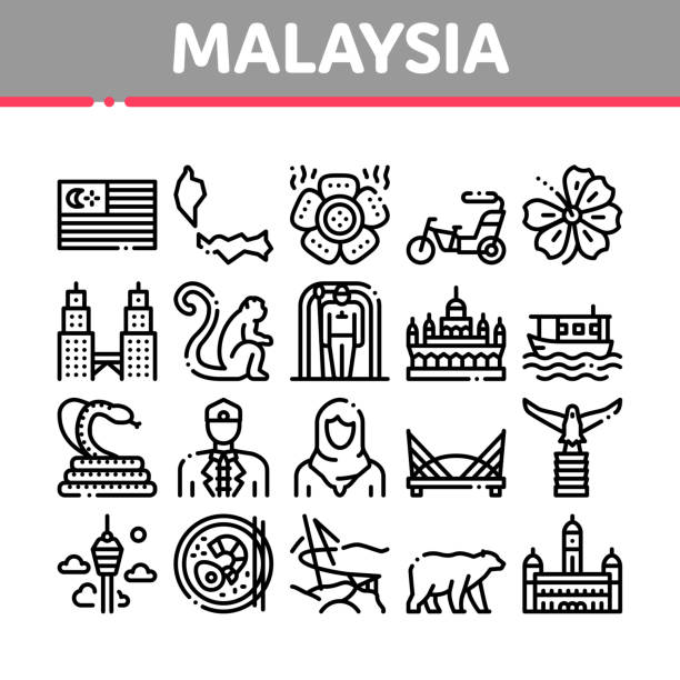 Malaysia National Collection Icons Set Vector vector art illustration