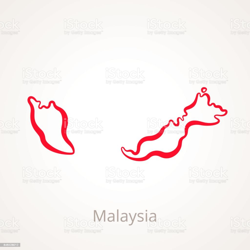 Malaysia Country: Malaysia Outline Map Stock Vector Art & More Images Of